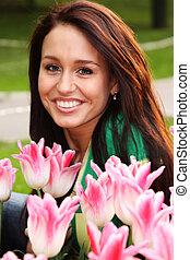 beau, tulipes, femme, jeune