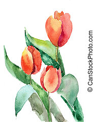 beau, tulipes, fleurs