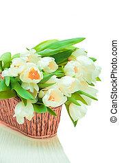 beau, tulipes, panier