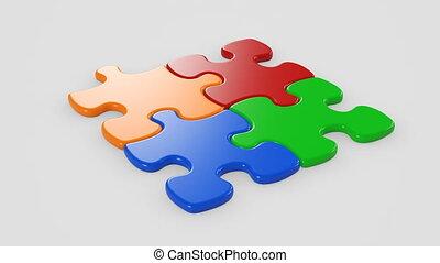 beau, uhd, animation., coloré, business, joindre, puzzle, screen., ensemble, morceaux, collaboration, mask., vert, 4k, alpha, tomber, table., concept., 3840x2160., 3d
