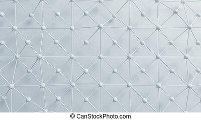beau, uhd, réseau, morphing, sphères, animation., process., lignes, seamless, mouvement, arrière-plan., engendré, informatique, conception, 4k, grille, blanc, résumé, 3840x2160., 3d