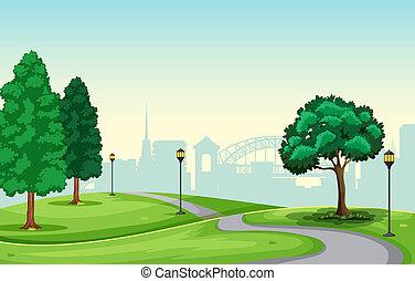 beau, urbain, parc, scène