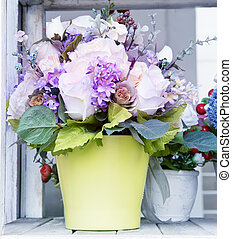 beau, usage, arrangé, cruche, polyvalent, bouquet, décoration, fond, vert, maison, fleurs, toile de fond