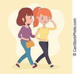 beau, utilisation, marche, smartphones, femmes