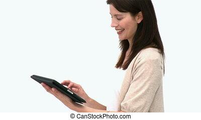 beau, utilisation, pc tablette, femme