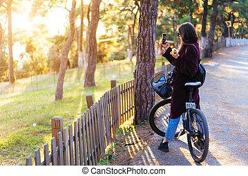 beau, vélo, jeune, photos, prendre, girl