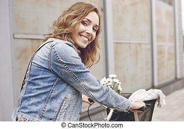 beau, vélo, portrait femme
