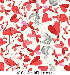 beau, vacances, tout, amants, modèle, papillons, flamants rose, jour