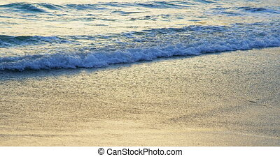 beau, vagues, mer, vers, rivage, plage, atteindre, 4k
