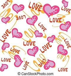 beau, valentine, lignes, fond, cœurs, blanc, jour