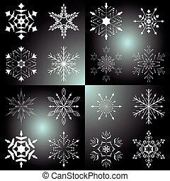 beau, vecteur, ensemble, flocons neige