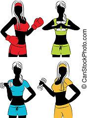 beau, vecteur, filles, fitness
