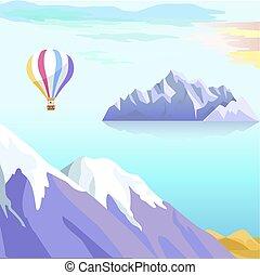 beau, vecteur, iceberg, paysage, mer