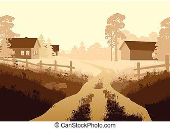 beau, vecteur, illustration, village
