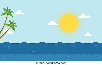 beau, vecteur, mer, paysage, dessin animé