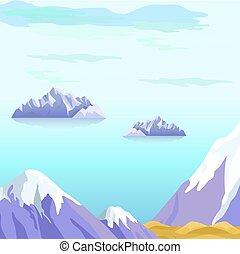 beau, vecteur, paysage, à, icebergs, dans, mer