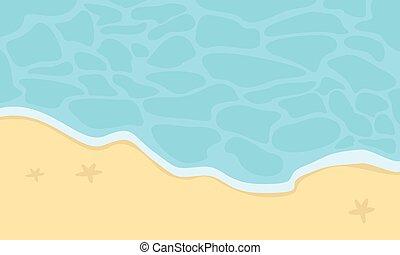 beau, vecteur, plage, dessin animé, paysage