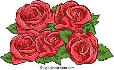 beau, vecteur, rose., illustration