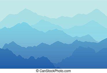 beau, vecteur, scénique, paysage, fond, à, montagnes