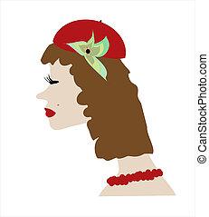 beau, vecto, femme, chapeau, figure