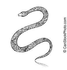 beau, vendange, art, serpent