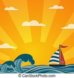 beau, vendange, bord mer, coucher soleil, fond