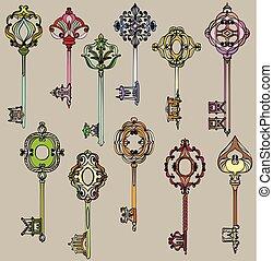 beau, vendange, ensemble, coloré, keys.