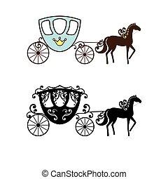 beau, vendange, voiture, silhouette, horse.