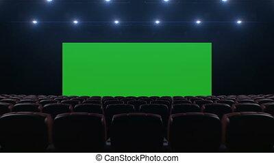 beau, vert, poursuite, cinéma, chaises, haut, sur, moderne, en mouvement, screen., salle, sombre, animation, par, 4k, points., éclairage, ultra, écran, hd, 3d