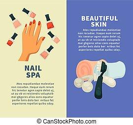 beau, vertical, clou, peau, spa, bannières, procédures