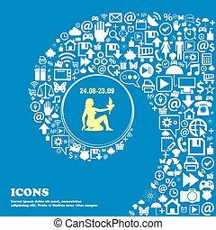 beau, vierge, symbols., ensemble, centre, icônes, tordu, spirale, grand, vecteur, icon., une, gentil