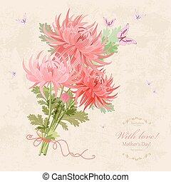 beau, vieux, bouquet, chrysanthèmes, papier, fond