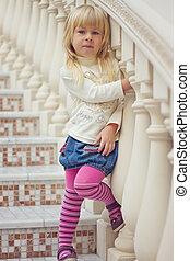 beau, vieux, escalier, collants, années, 3, girl