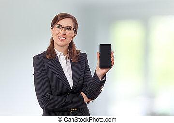 beau, vieux, mobile, bureau., 50, téléphone, femme affaires, portrait, oreilles