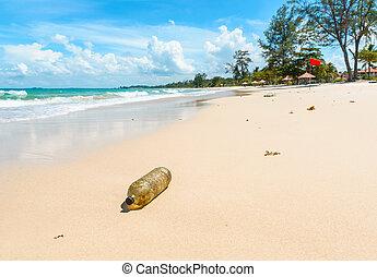 beau, vieux, plastique, exotique, bouteille, plage