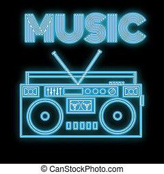 beau, vieux, résumé, enseigne, bleu clair, 90s, espace, vendange, arrière-plan., incandescent, cassette, retro, musique, enregistreur, néon, mots, 80s, copie, vecteur, icône, audio, noir