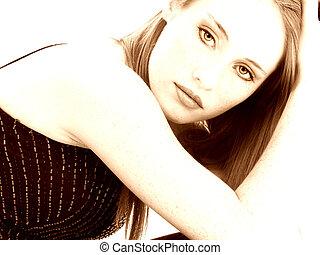 beau, vieux, sépia, quatorze, année, girl