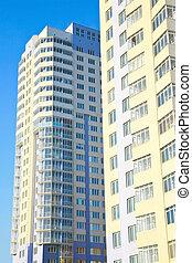 beau, ville, bâtiments, centre., haut-ascension, nouveau
