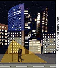beau, ville, bâtiments, nuits, romantique, business, la, paris, couple, centre, france., défense, vector., nuit, éclairé