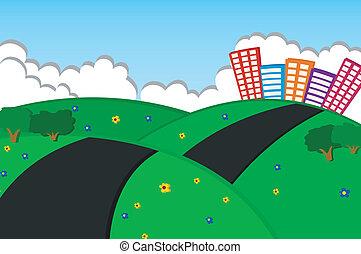 beau, ville, collines vertes