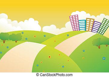 beau, ville, collines vertes, w