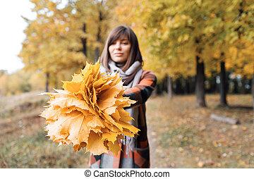 beau, ville, marche, femme, heureux, bouquet, jeune, foyer, automne, park., colors., automne, portrait, girl, agréable, forêt