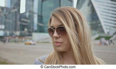 beau, ville, mode, porter, luxuriant, haut, sunglasses., charme, lèvres, femme, fond, fin, portrait, girl, center.