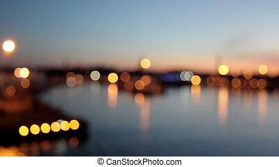 beau, ville, port, lumières, clair, paysage, vue