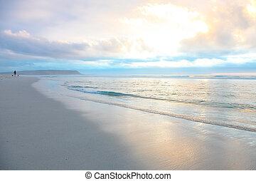 beau, ville, sablonneux, cap, plage, coucher soleil