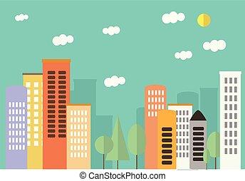 beau, ville, style, flat., pastel, colors., paysage