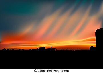 beau, ville, sur, ciel, coucher soleil, orange