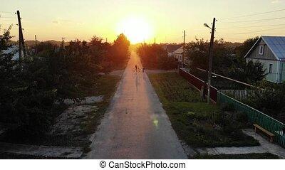 beau, ville, sur, coucher soleil, petit, russie
