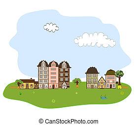 beau, ville, village, ou, voisin