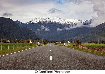beau, ville, zélande, southland, côte, ouest, nouveau,...